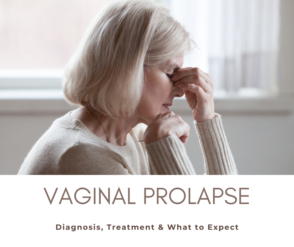 older woman holding the top of her nose above the blog title