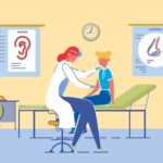Children Healthcare and Pediatricians Support Teenage Girl at Pediatrician or General Practitioner, ENT Specialist Appointment. Children Healthcare and Medical Support with People Characters In Clinic Room Interior. Flat Vector Illustration.