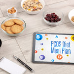 Healthy Tablet Pc compostion with PCOS Diet Meal Plan inscription, weight loss concept